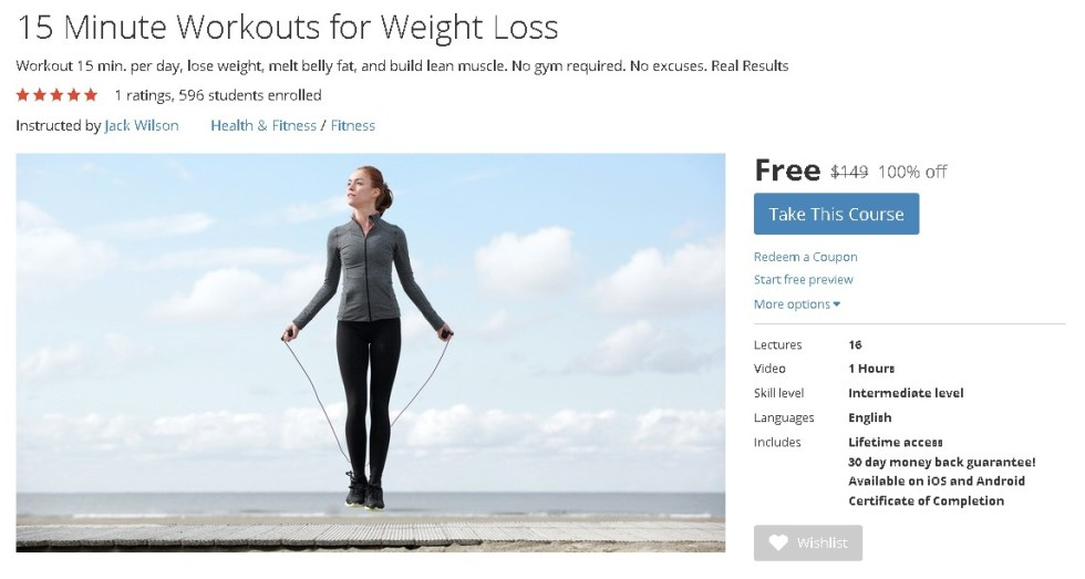 FREE Udemy Course on 15 Minute Workouts for Weight Loss