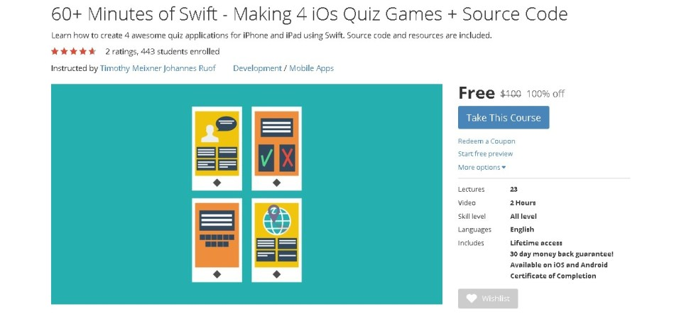 FREE Udemy Course on 60+ Minutes of Swift - Making 4 iOs Quiz Games + Source Code
