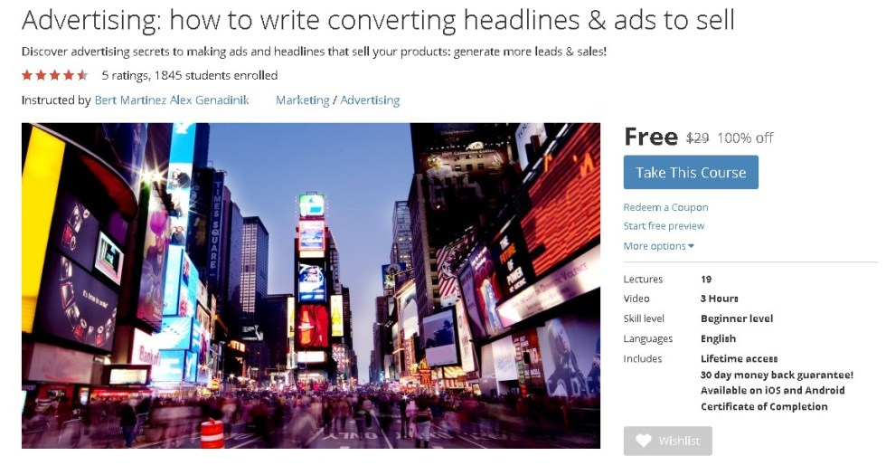 FREE Udemy Course on Advertising how to write converting headlines & ads to sell