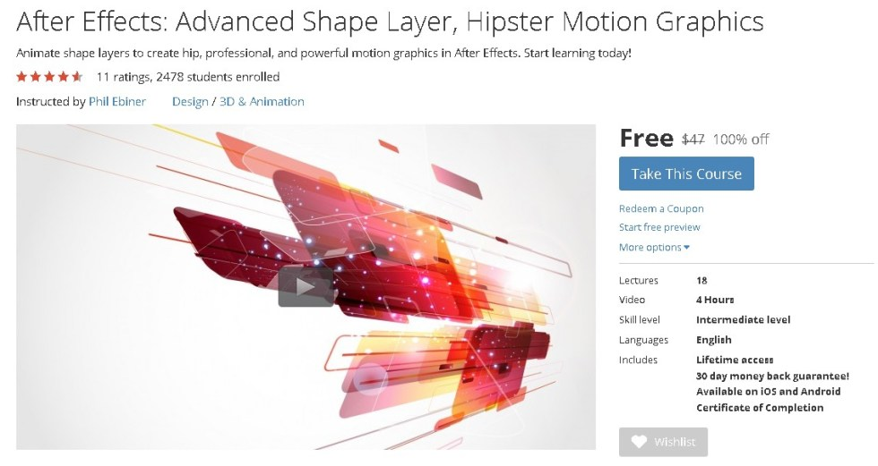 FREE Udemy Course on After Effects Advanced Shape Layer, Hipster Motion Graphics