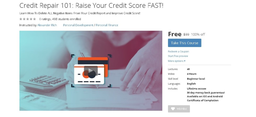 FREE Udemy Course on Credit Repair 101 Raise Your Credit Score FAST!
