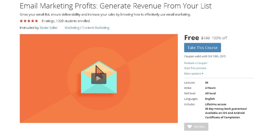 FREE Udemy Course on Email Marketing Profits Generate Revenue From Your List