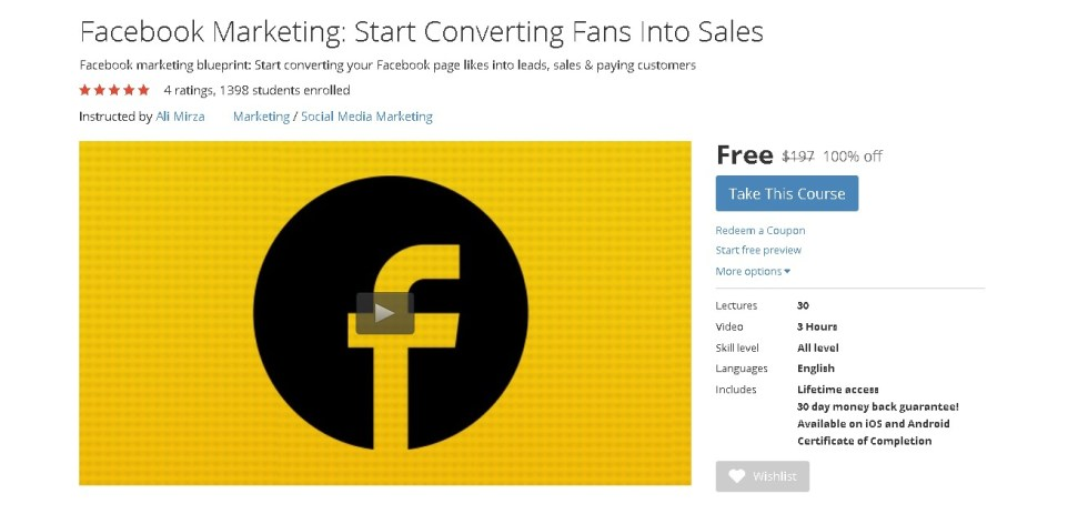 FREE Udemy Course on Facebook Marketing Start Converting Fans Into Sales