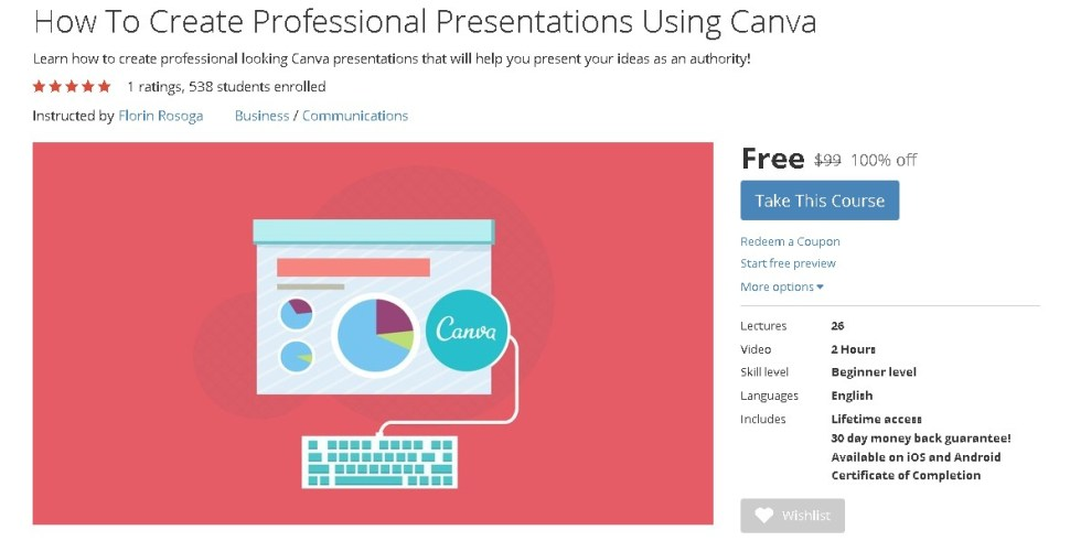 FREE Udemy Course on How To Create Professional Presentations Using Canva