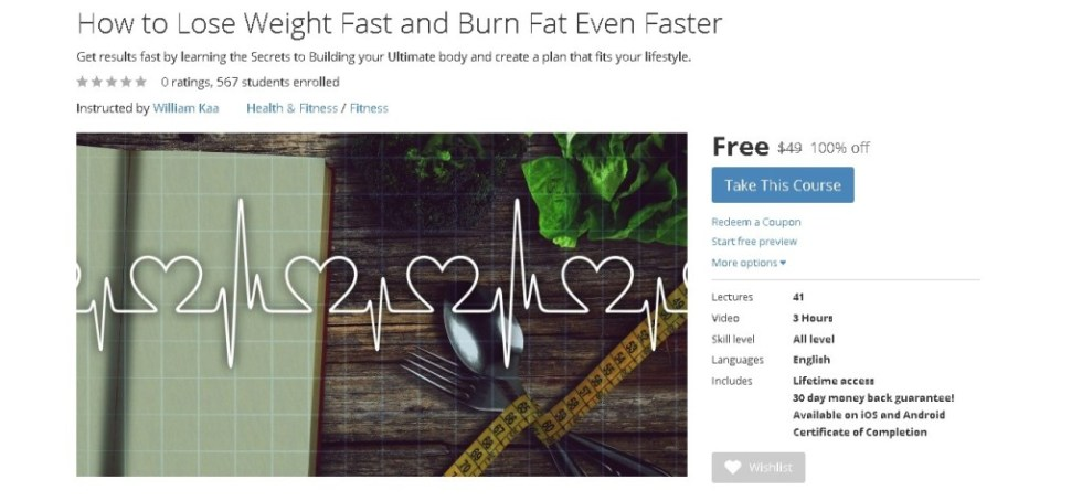 FREE Udemy Course on How to Lose Weight Fast and Burn Fat Even Faster