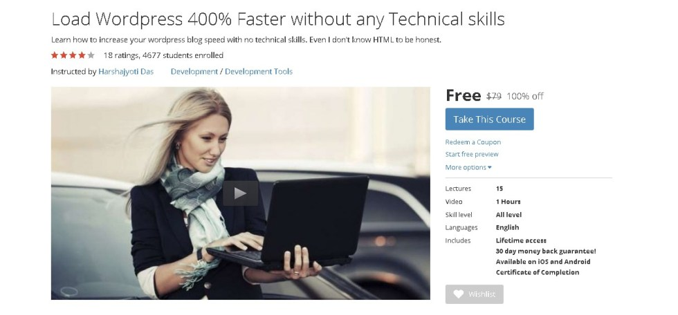 FREE Udemy Course on Load WordPress 400% Faster without any Technical skills