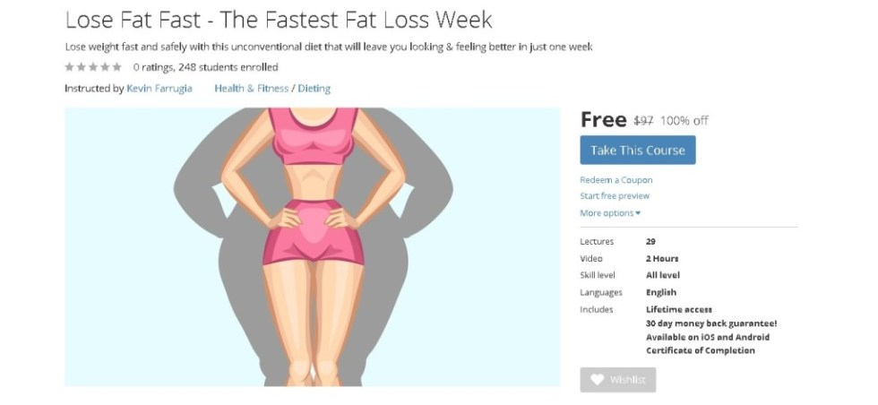 FREE Udemy Course on Lose Fat Fast - The Fastest Fat Loss Week