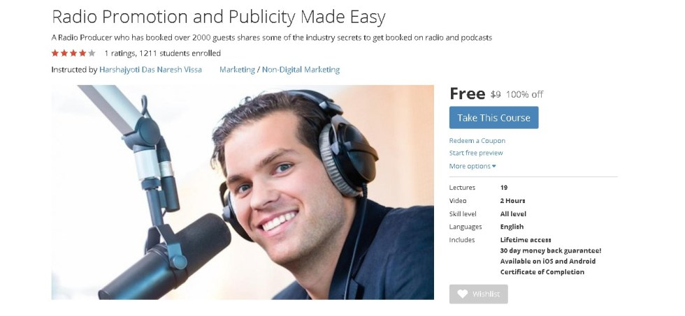 FREE Udemy Course on Radio Promotion and Publicity Made Easy