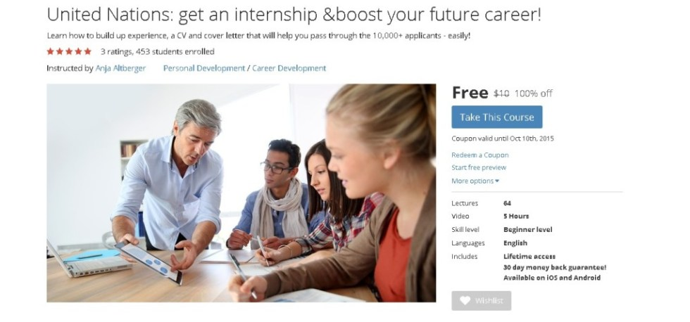 FREE Udemy Course on United Nations get an internship & boost your future career!