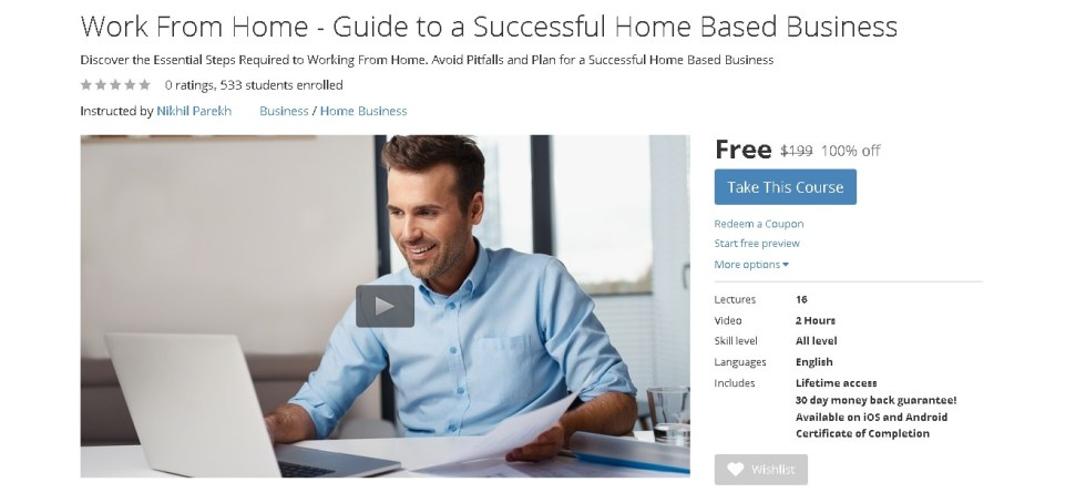 FREE Udemy Course on Work From Home - Guide to a Successful Home Based Business