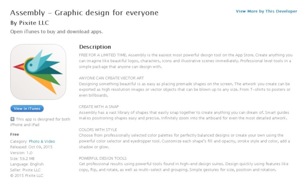FREE iOS App Assembly - Graphic design for everyone By Pixite LLC