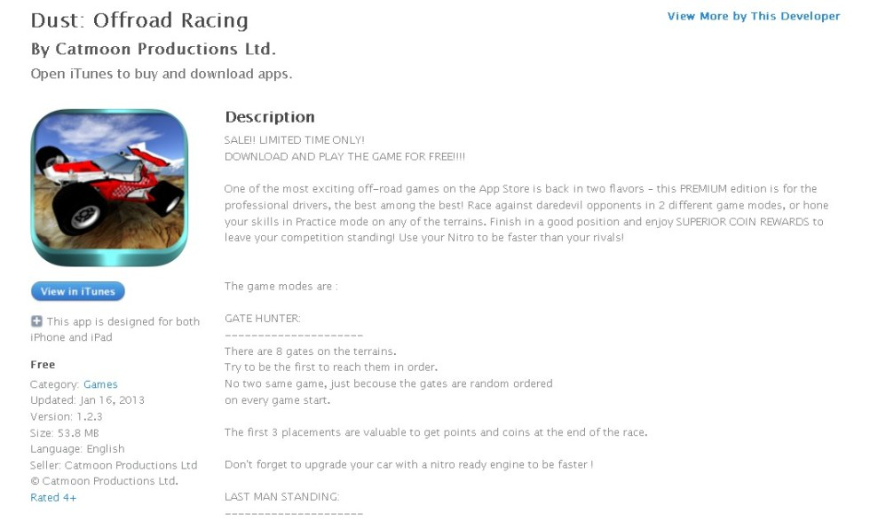 FREE iOS Game Dust Offroad Racing By Catmoon Productions Ltd.