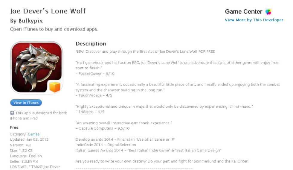 FREE iOS Game Joe Dever's Lone Wolf By Bulkypix