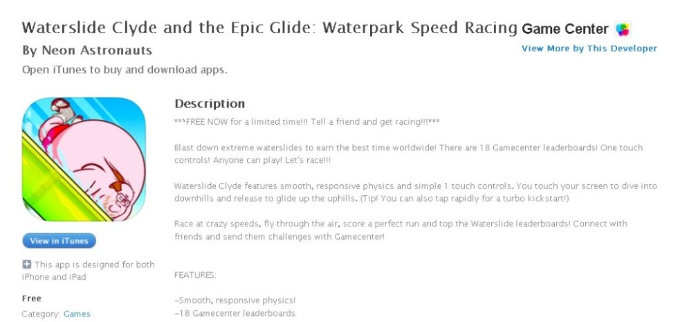 FREE iOS Game  Waterslide Clyde and the Epic Glide Waterpark Speed Racing By Neon Astronauts
