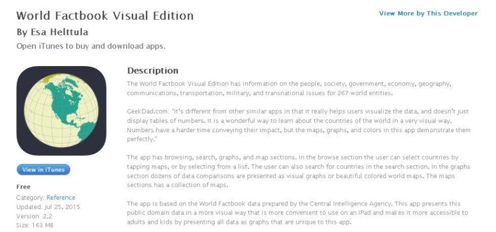 FREE iOS Reference App World Factbook Visual Edition By Esa Helttula