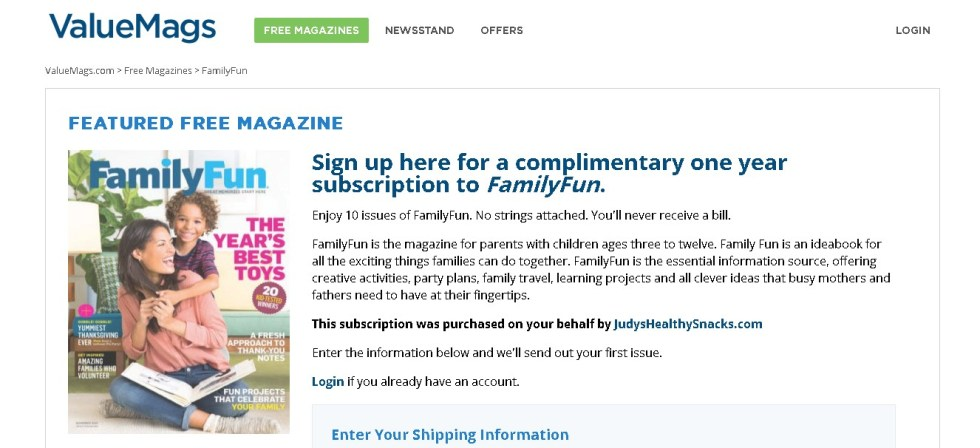 FREE one year subscription to FamilyFun Magazine at Valuemags (2)