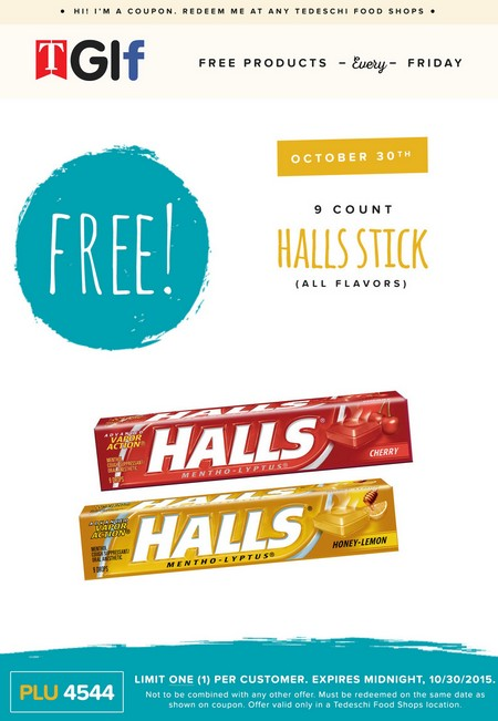 Free 9 COunt Halls Stick (All Flavors) at Tedeschi Food shops