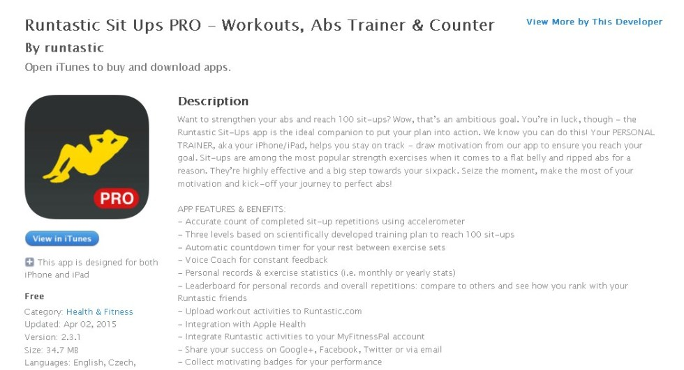 Free Health & Fitness App  Runtastic Sit Ups PRO – Workouts, Abs Trainer & Counter By runtastic