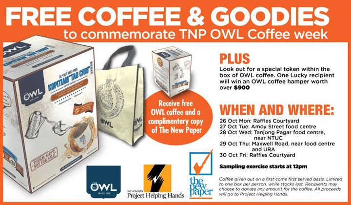 Free OWL coffee and goodies at The New Paper Singapore