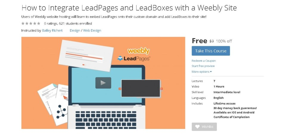 Free Udemy Course on How to Integrate LeadPages and LeadBoxes with a Weebly Site