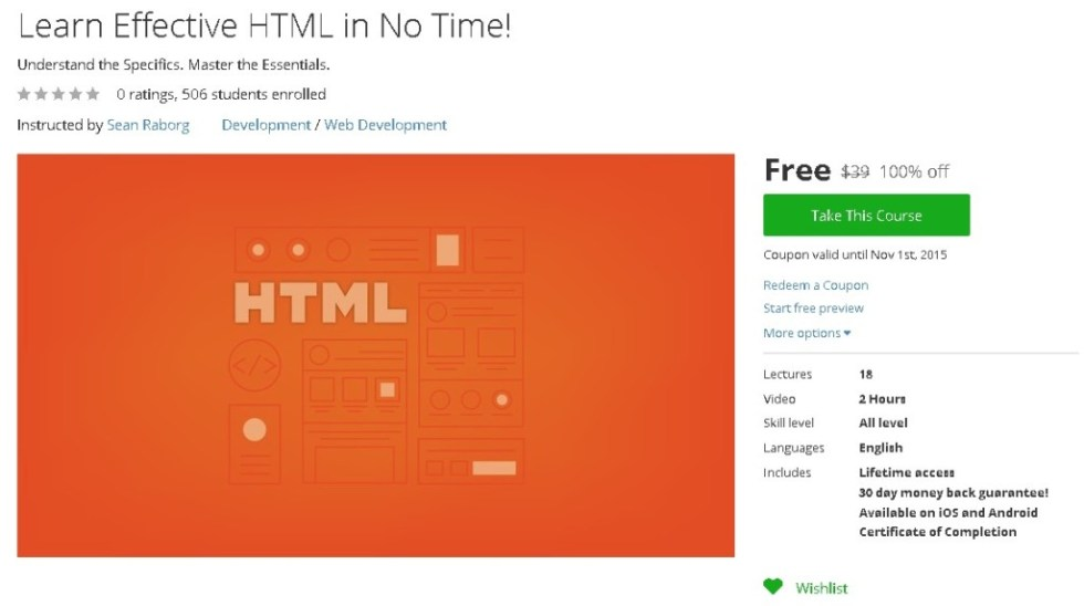 Free Udemy Course on Learn Effective HTML in No Time!