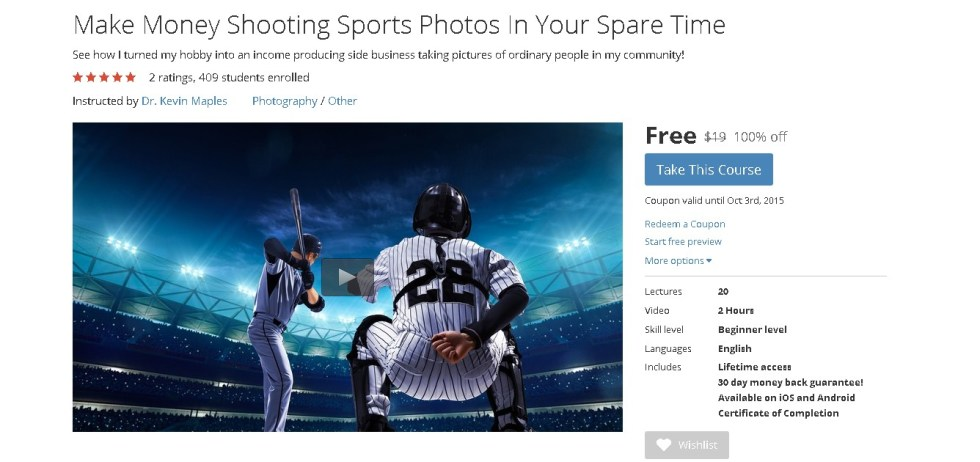 Free Udemy Course on Make Money Shooting Sports Photos In Your Spare Time