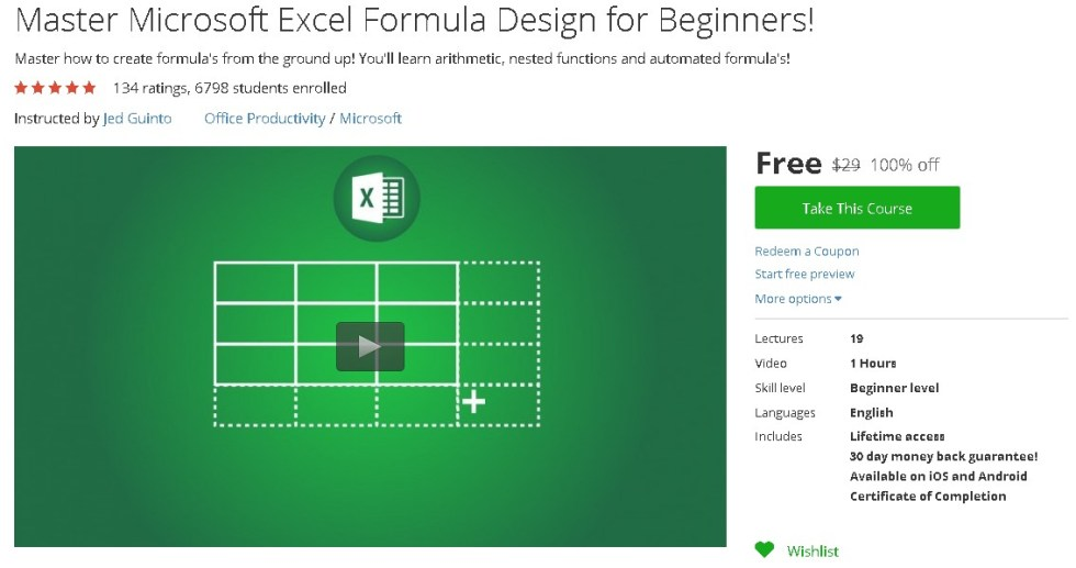 Free Udemy Course on Master Microsoft Excel Formula Design for Beginners!