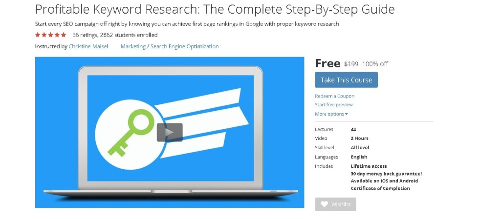 Free Udemy Course on Profitable Keyword Research The Complete Step-By-Step Guide