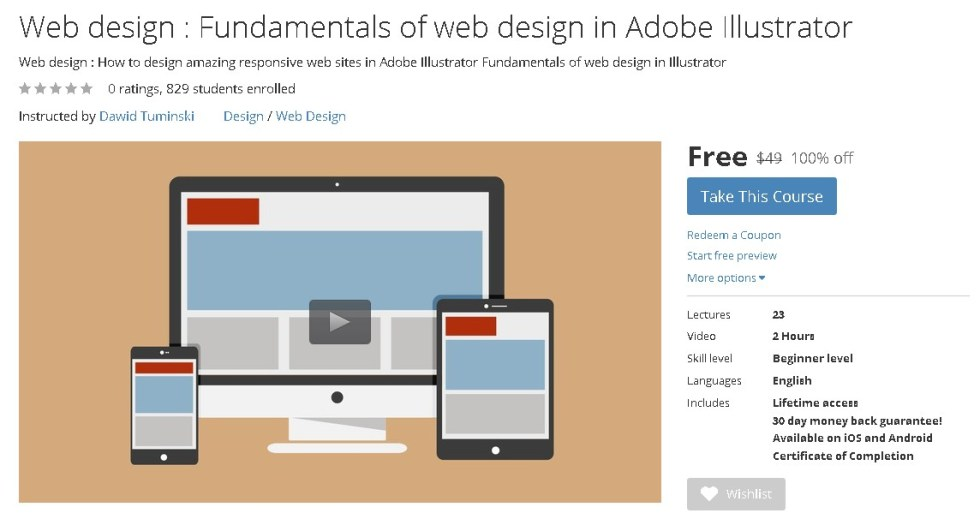 Free Udemy Course on Web design  Fundamentals of web design in Adobe Illustrator