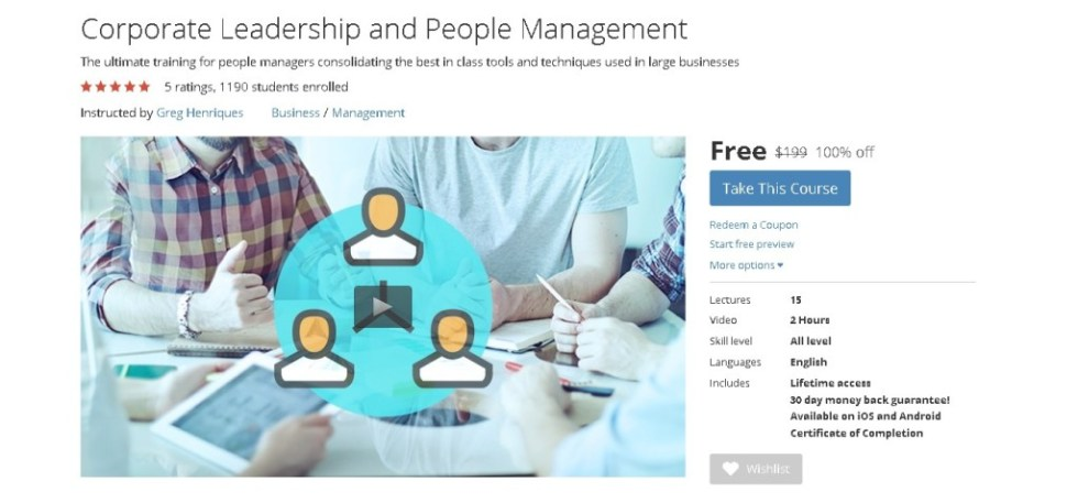 Free Udemy Online Course on Corporate Leadership and People Management