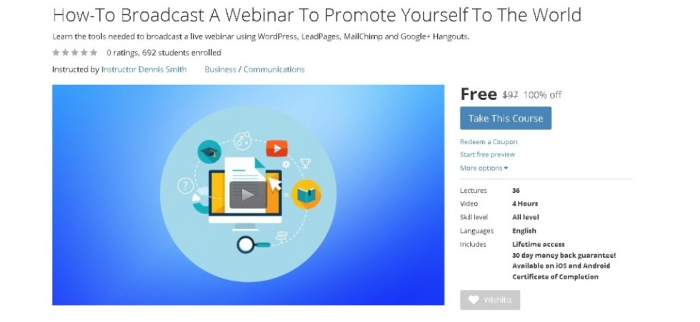 Free Udemy Online Course on How-To Broadcast A Webinar To Promote Yourself To The World