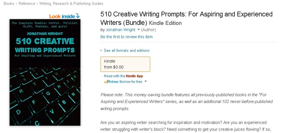 Free eBook at Amazon 510 Creative Writing Prompts For Aspiring and Experienced Writers