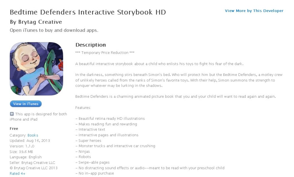 Free iOS Book Bedtime Defenders Interactive Storybook HD By Brytag Creative