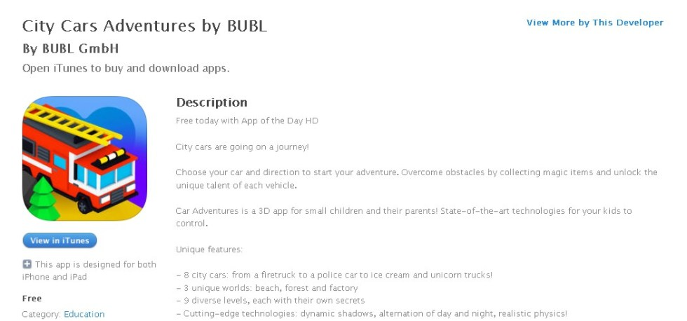 Free iOS Education App City Cars Adventures by BUBL