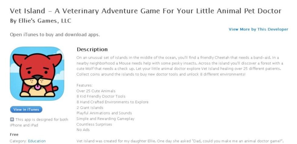 Free iOS Education App  Vet Island - A Veterinary Adventure Game For Your Little Animal Pet Doctor By Ellie's Games, LLC