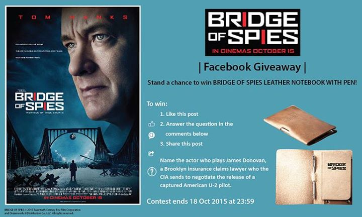 Stand a chance to win BRIDGE OF SPIES leather notebook with pen at Filmgarde Cineplex Singapore