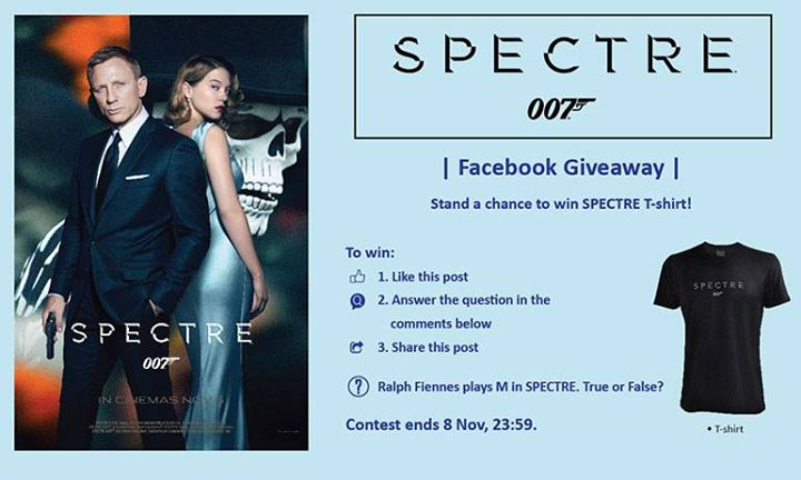 Stand a chance to win SPECTRE T-shirt at Filmgarde Cineplex