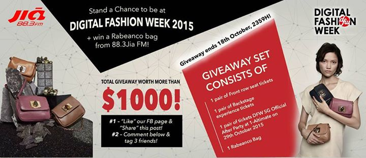 WIN 2 lucky winners stand a chance to win the giveaway set worth over $1000 of exclusive passes to Digital Fashion Week 2015 + a Rabeanco bag