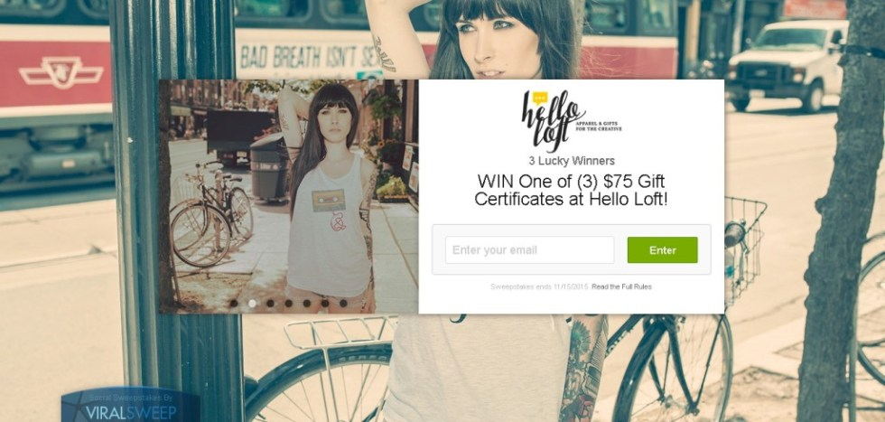 WIN One of (3) $75 Gift Certificates at Hello Loft!