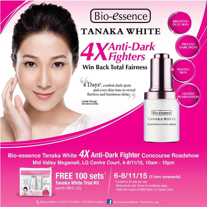 Bio-essence Malaysia Giveaway FREE 100 Sets Tanaka White Trial Kit at Mid Valley Megamall, LG Centre Court