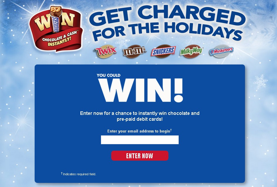 Enter now for a chance to instantly win chocolate and pre-paid debit cards!