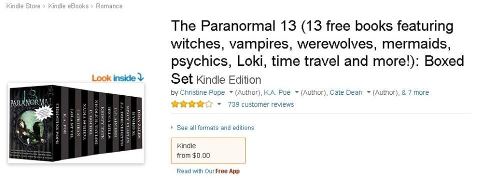 FREE eBook at Amazon The Paranormal 13 (13 free books featuring witches, vampires, werewolves, mermaids, psychics, Loki, time travel and more!) Boxed Set