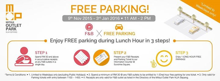 Free Parking at Mitsui Outlet Park KLIA Sepang