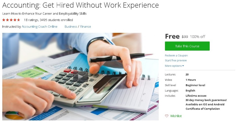 Free Udemy Course on Accounting Get Hired Without Work Experience