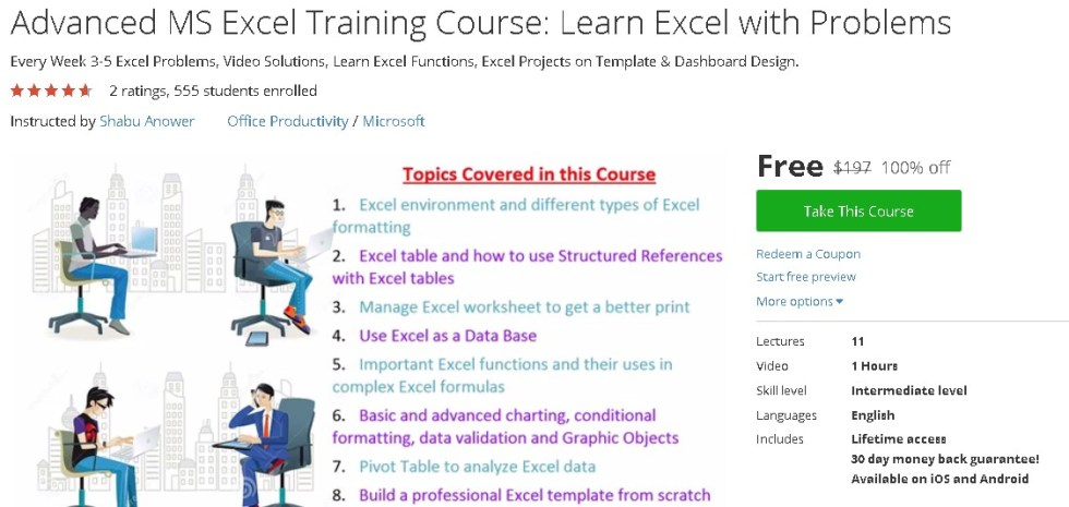 Free Udemy Course on Advanced MS Excel Training Course Learn Excel with Problems