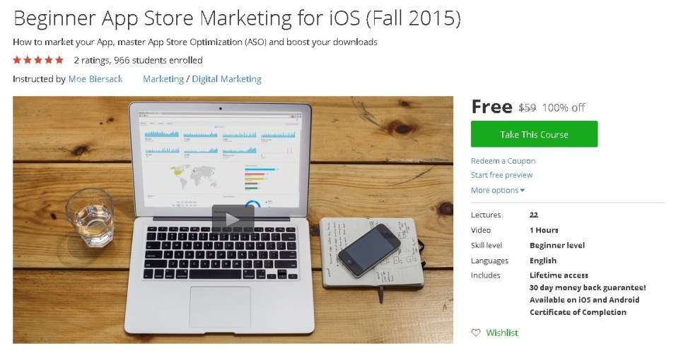 Free Udemy Course on Beginner App Store Marketing for iOS (Fall 2015)