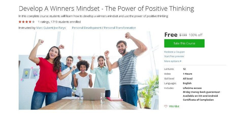 Free Udemy Course on Develop A Winners Mindset - The Power of Positive Thinking