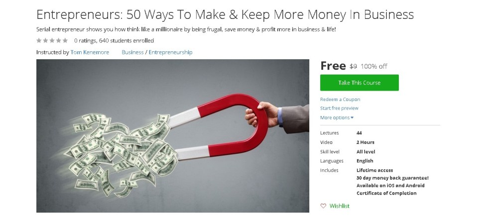 Free Udemy Course on Entrepreneurs 50 Ways To Make & Keep More Money In Business