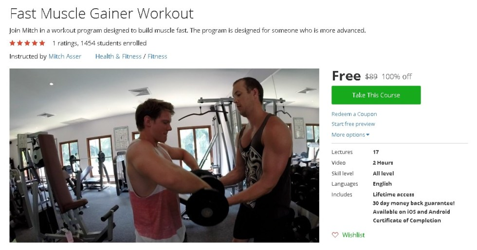 Free Udemy Course on Fast Muscle Gainer Workout