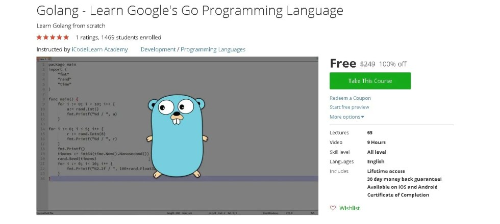 Free Udemy Course on Golang - Learn Google's Go Programming Language